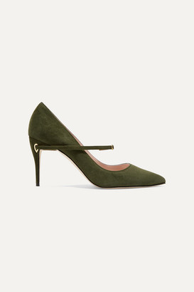 Jennifer Chamandi Lorenzo 85 Suede Pumps - Army green
