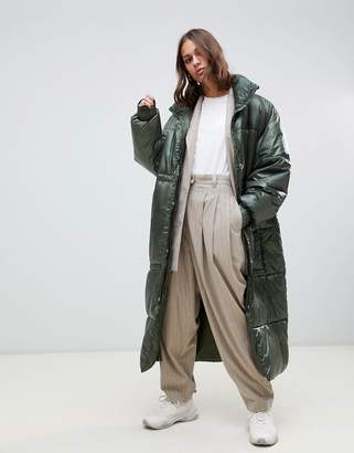 Weekday oversized long padded jacket in green
