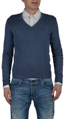 Gucci 100% Silk Navy V-Neck Men's Knitted Sweater
