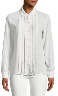 T Tahari Aliza Pleated Button Front Blouse