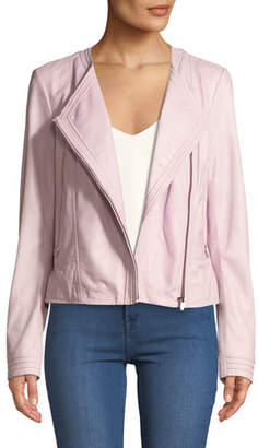 Neiman Marcus Leather Collection Lamb Leather Collarless Moto Jacket