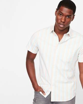 Express Slim Striped One Pocket Short Sleeve Shirt