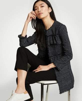 Ann Taylor Ruffle Tweed Long Jacket