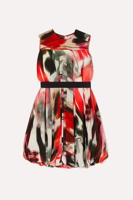 Alexander McQueen Cape-effect Printed Silk-blend Dress - Red
