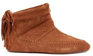 Saint Laurent Nino Fringed Suede Ankle Boots - Womens - Tan