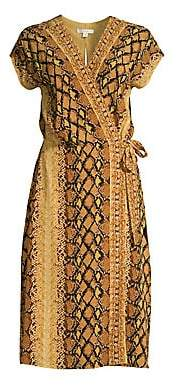 Joie Women's Bethwyn Snakeskin Print Wrap Dress