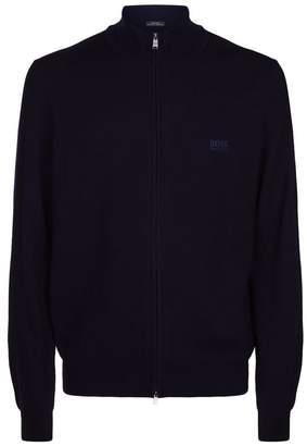 HUGO BOSS Wool Zip Front Cardigan
