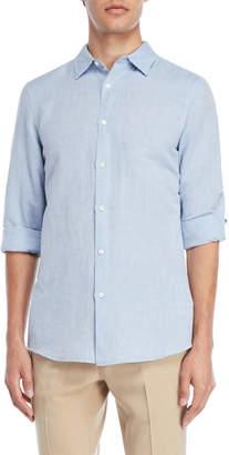 Perry Ellis Colony Blue Linen-Blend Shirt