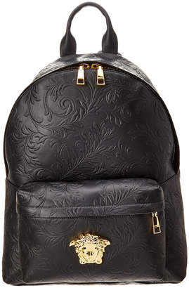 f5252034c541 Versace Barocco Embossed Leather Backpack
