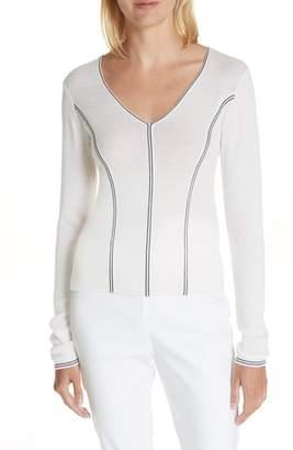 Rag & Bone Lavinia Stripe Seam Merino Wool Sweater