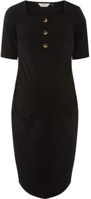 Dorothy Perkins Womens **Maternity Black Button Square Neck Shift Dress