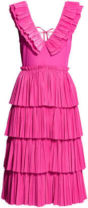 H&M Pleated Tiered Dress - Pink