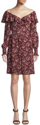 Rebecca Taylor Tilda Floral-Print Ruffle Silk Dress