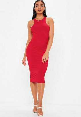 Missguided Red Ribbed Racer Neck Bodycon Midi Dress