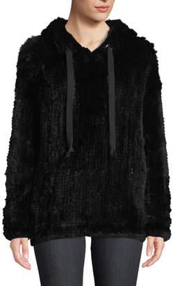 Adrienne Landau Knit Rabbit Fur Hoodie