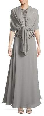 J Kara Beaded Embellished Gown