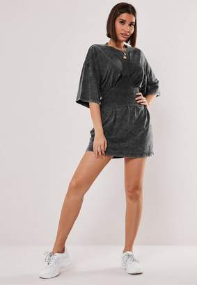 Missguided Gray Wash Corset Lace Up T Shirt Dress