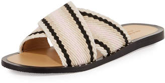 Rag & Bone Keaton Flat Crisscross Slide Sandals, Red/Multi