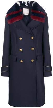 Pinko faux fur collar military coat