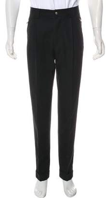 Versace Pleated Wool Cuffed Pants