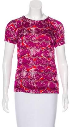 Tory Burch Sheer-Accented Patterned Top