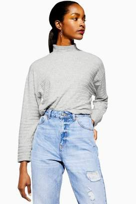 Topshop Womens Petite Chunky Rib And Cut And Sew Sweatshirt