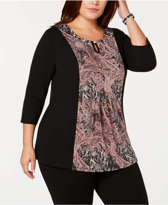 NY Collection Plus Size Scroll-Print Top