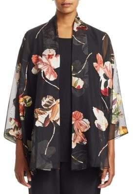 Caroline Rose Plus Mix It Up Botanic Deovore Cardigan