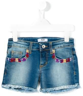 MSGM beaded pockets denim shorts