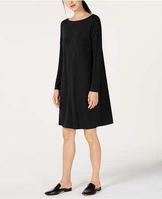 Eileen Fisher Bateau-Neck Twist-Back Stretch Jersey Shift Dress, Regular & Petite