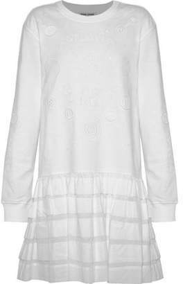 Opening Ceremony Ruffled Gauze-paneled Embroidered Cotton-terry Mini Dress