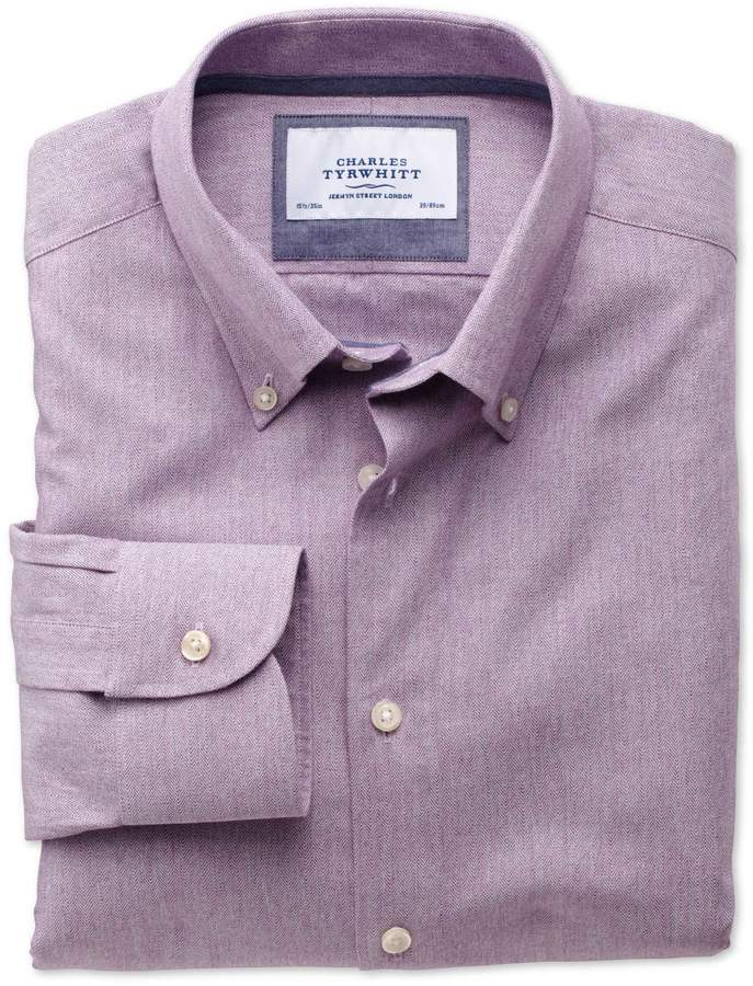 Extra Slim Fit Button-Down Collar Business Casual Berry Cotton/wool Dress Shirt Single Cuff Size 16/34 by Charles Tyrwhitt