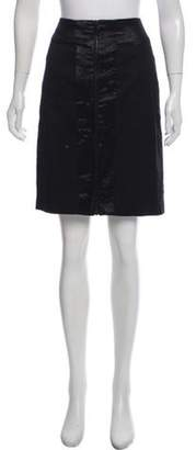 Rag & Bone Metallic-Accented Knee-Length Skirt Black Metallic-Accented Knee-Length Skirt