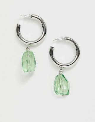 Asos Design DESIGN hoop earings with faceted green gem in silver tone