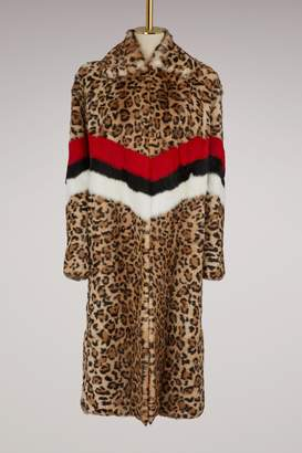 MSGM Rabbit leopard coat