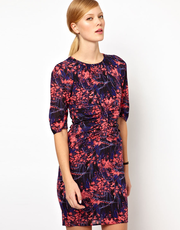 Whistles Bella Tropical Floral Body-Conscious Dress