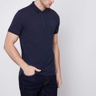 Jack and Jones Mens Core Navy zip polo shirt