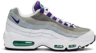 Nike White and Purple Air Max 95 Sneakers