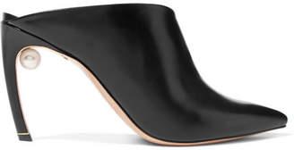 Nicholas Kirkwood Mira Faux Pearl-embellished Leather Mules - Black