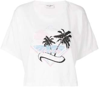 Saint Laurent cropped palm print T-shirt