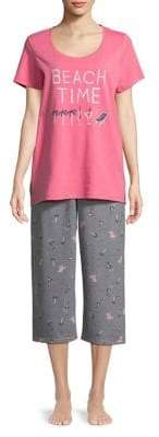 Hue Plus Beach Stuff Capri Pajamas