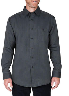 Haggar Birdseye Striped Regular-Fit Button-Down Shirt