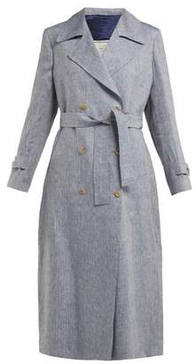Giuliva Heritage Collection - The Christie Lana Double Breasted Wool Trench Coat - Womens - Blue
