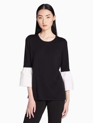 Calvin Klein crewneck poplin 3/4 flare sleeve top
