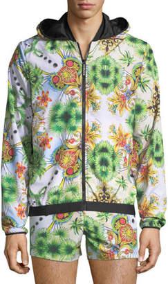 Versace Miami-Print Zip-Front Jacket