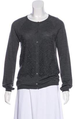 Christian Dior Embroidered Crew Neck Cardigan Grey Embroidered Crew Neck Cardigan