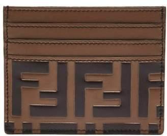Fendi Logo Embossed Leather Cardholder - Mens - Brown