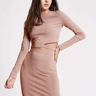 River Island Pink knit cut out shoulder crop top
