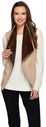 G.I.L.I. Got It Love It G.I.L.I. Faux Suede and Faux Fur Open Front Reversible Vest
