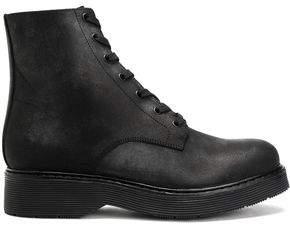 Vince Leather Platform Ankle Boots